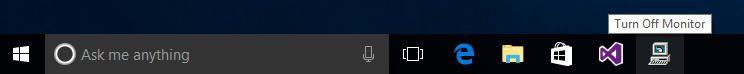 Screenshot displaying Turn Off Monitor icon in Taskbar