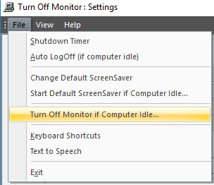 Screenshot Displaying the File Menu of the Settings Dialog Box